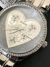 Guess Women's Silver Tone Bracelet Heart Floral Crystal Watch U0910L1 NWT Box