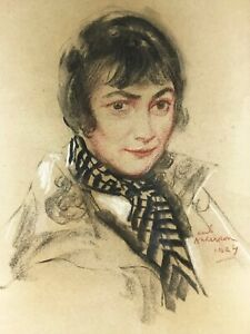 PORTRAIT OF YOUNG WOMAN BY KARL ANDERSON (LISTED ARTIST), DATED 1924, ORIGINAL