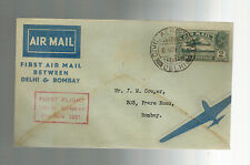 1937 Delhi to Bombay India First Flight Cover Ffc Ata Airmail