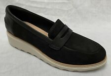 BNIB Clarks Ladies Sharon Ranch Black Nubuck Leather Wedged Slip On Shoes