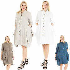 Collar Linen Plus Size Dresses for Women
