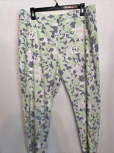 IZOD Golf Women Pants Sz 12 White/Green Flowered Striped