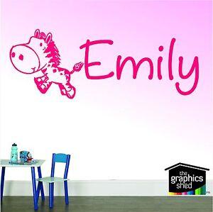 nursery wall art horse zebra cute named sticker decal kids room boys girls