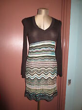 Missoni brown knit stretch dress blue black wave flame stitch skirt sz M