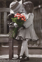 POSTER: PHOTO : YOUNG LOVE - YOUNG BOY & GIRL KISSING  - FREE SHIPPING  RW23 S