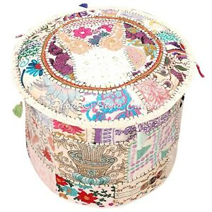 Bohemian Foot Stool Pouf Cover White Cotton Patchwork Embroidered Round 22 Inch