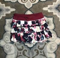 Women Lululemon Berry White Navy Inky Floral Ghost Pacesetter Skort Skirt Sz 2