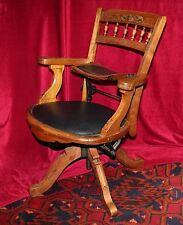 Antique Eastlake Traveling Barber's Swivel Chair w/Built in Child Seat, c. 1850s