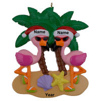 MAXORA Flamingo Vacation Couple Personalized Ornament  wIth Gift Box 2019