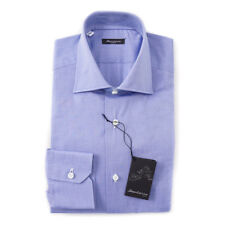 NWT $395 SARTORIO NAPOLI Medium Blue Pinpoint Cotton Dress Shirt 15 x 35