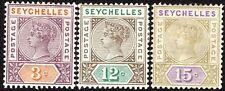 Seychelles 1893 part set crown CA Die II mint SG22/23/24