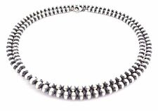 "36"" Navajo Pearls Sterling Silver 6mm Beads Necklace"