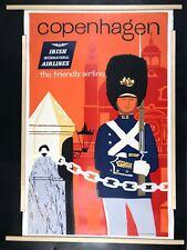 ORIGINAL Vintage Travel Poster Copenhagen DENMARK Irish Airlines Ireland LINEN
