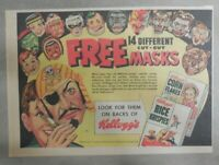 Kellogg's Cereal Ad: 14 Free Masks  Premium From 1953 Size: 7 x 10 inches