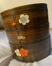 Jubako Vtg Laquerware Stacking Bento Food Storage Lunch Containers MCM Lunchbox