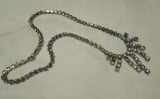 Vintage czech iris glass rhinestone silver tone necklace
