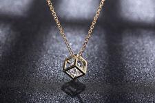 GOLD Halskette MIT Anhänger Würfel Diamant Geschenk Weihnachten Schmuck FERANI