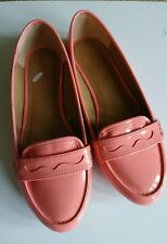 ZARA  leather patent coral pink loafer flat sz 36 sz 6