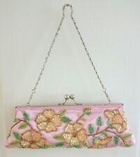 New Beautiful Multi & Pink Floral Beaded Evening/Prom Handbag, Clasp top