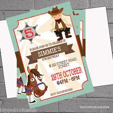 Cowboy Sheriff Horse Childrens Kids Birthday Party Invitations x 12 +envs H0452