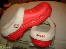 PINK CROCS BAND LINE SHOES WARM FAUX FAUR  SLIP ON  PRE OWNED 1J3