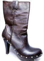 Michael Kors Leather Boots Brown Studded Women 8.5 High Heel Gently Used + Box