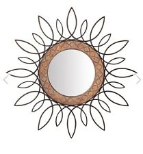 "🔘 Large 81"" Twisted Metal Mirror Maya Wood Wall Mirror 🔘 Vintage Shabby Chic"