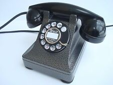 Antique Western Electric telephone Model 302  Hammer tone Silver / Black  Metal