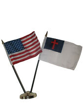 "USA American w/ Christ Christian Flag 4""x6"" Desk Set Table Stick Gold Base"