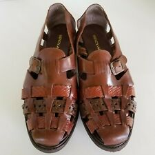 STACY ADAMS Fisherman Style Men's Sandals Woven Leather Size 9 1/2 TwoTone Brown