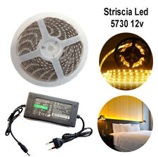 STRISCIA LED 5730 5M ADESIVA LUCE IP65 ALIMENTATORE 12V 5A BIANCO CALDO 12W/M