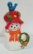 Adorable Used Ceramic Snow-Woman Figurine/Bell with ceramic clapper, 4 in. tall