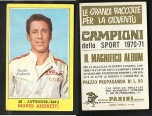 Mario Andretti (USA) Car Driver Panini CARD 1970 n.56 NEW Ferrari ROOKIE RARE  ▓