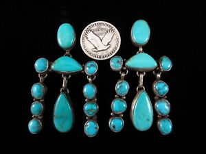 Vintage Navajo Earrings - Sterling Silver and Turquoise Cluster