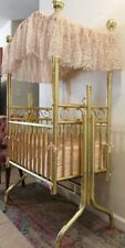 Brass Corsican Cradle Infant Rocking Crib Victorian Baby Vintage Furniture