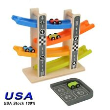 Toddler Toys Wooden Race Track Car Ramp Racer For Kids Boys Girls 1 2 Year Old