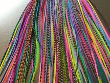 Lot 100 Feather Hair Extensions Tie Dye Bulk Wholesale Grizzly Two Tone Real TD