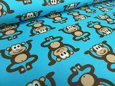 Stoffrest 16x150cm Baumwolle Jersey Affen Äffchen türkis blau braun Kinderstoff