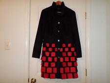 Rare Samuel Dong Coat Medium Abstract Black Red Princess Jacket
