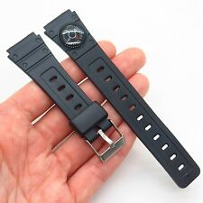 18mm Black Rubber Stainless Steel Compass Diver Design Watch Band Strap