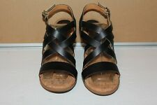 NWOB KORK'S BY EASE NEDRA BLACK LEATHER BUCKLE STRAP WOMEN'S SANDALS SIZE 8M