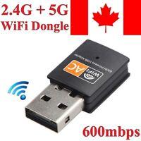 Wireless USB WiFi Adapter Mini Network Dongle 600Mbps Windows MAC Linux 2.4G/5G