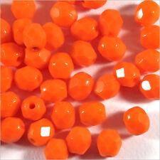 Facettes de Bohème 4mm Orange Lot de 50 perles