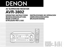 Denon AVR-1082 AVR-3802 Receiver Owners Manual