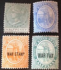 St Kitts Nevis 1882-1916 4 x Stamps mint hinged