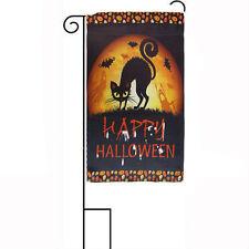"12x18 12""x18"" Happy Halloween Black Cat Moon Night Sleeved w/ Garden Stand Flag"