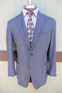 Canali Italy Kei Collection Gray Blue Herringbone Two Button Wool Blazer SZ 44R
