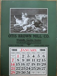 Rocky Ford, CO 1906 Advertising Calendar/16x22 Poster: Cats/Kittens - Brown Mill