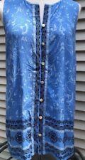 J.Jill Sleeveless Button Down Blue  Blouse Small