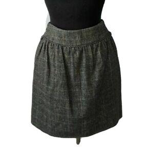 Tokito brown grey tweed mini skirt with ruffle waist rear belt BNWT Size 8